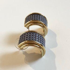 Vintage Weekenders | Pierced Gold Blue Earrings